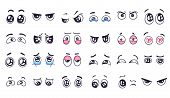 Cartoon Eyes. Comic Watching Eye, Funny Facial Eyes Expressions And Human Emotions Happy And Crying  poster