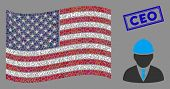 Engineer Icons Are Combined Into American Flag Collage With Blue Rectangle Distressed Stamp Watermar poster