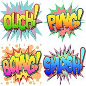 A Selection of Comic Book Exclamations and Action Words, Ouch, Ping, Boing, Smash