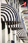 picture of awning  - Striped awnings of a restaurant - JPG
