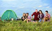 Pleasant Hike Picnic. People Eating Food. Hike Picnic. Camping Concept. Youth Having Fun Picnic In H poster
