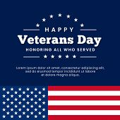 Happy Veterans Day Honoring All Who Served Poster Celebration Background Vector Design With Usa Amer poster