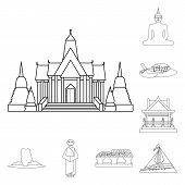 Vector Design Of Landmark And Culture Icon. Set Of Landmark And Tourism Vector Icon For Stock. poster
