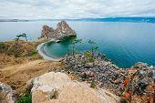Shamanka On Baikal Lake Near Khuzhir At Olkhon Island In Siberia, Russia. poster