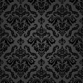 Classic Seamless Vector Pattern. Damask Orient Dark Ornament. Classic Vintage Background. Orient Bla poster