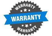 Warranty Sign. Warranty Blue-black Circular Band Label poster