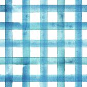 Watercolor Stripe Plaid Seamless Pattern. Teal Blue Stripes On White Background. Watercolour Hand Dr poster