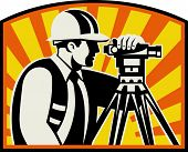 foto of theodolite  - Illustration of surveyor civil geodetic engineer worker with theodolite total station equipment with sunburst done in retro woodcut style - JPG