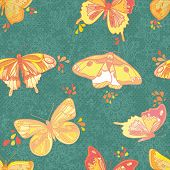 stock photo of inchworm  - Seamless Wallpaper with floral ornament with leafs and butterfly for vintage design Vector retro background - JPG