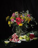 Bouquet Of Flowers And Fruits On A Black Background.colorful Bouquet In The Style Of Dutch Masters poster
