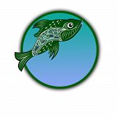 Logo Fish In A Circle With A Marine Blue-green Background. Logo On A Fish Theme Made In A Circle - S poster