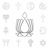 Religion Symbol, Ayyavazhi Outline Icon. Element Of Religion Symbol Illustration. Signs And Symbols  poster