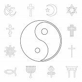 Religion Symbol, Yin Yang Outline Icon. Element Of Religion Symbol Illustration. Signs And Symbols I poster