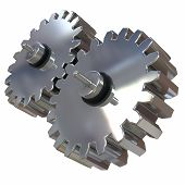 stock photo of gear  - 3d illustration two gears of silver alloy rotate around its axis - JPG