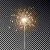 Sparkler Candle Vector Isolated. Bengal Fire Light Effect. Birthday Firecracker Sparkle Effect. Vect poster