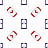 Blue And Red Smartphone With Free Wi-fi Wireless Connection Icon Isolated Seamless Pattern On White  poster