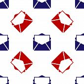 Blue And Red Mail And E-mail Icon Isolated Seamless Pattern On White Background. Envelope Symbol E-m poster