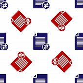 Blue And Red Transfer Files Icon Isolated Seamless Pattern On White Background. Copy Files, Data Exc poster