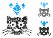 Ethereum Crypto Kitty Composition Of Unequal Elements In Different Sizes And Shades, Based On Ethere poster