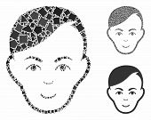 Human Head Mosaic Of Unequal Items In Various Sizes And Color Tinges, Based On Human Head Icon. Vect poster