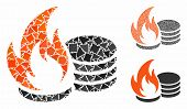 Coins Fire Disaster Mosaic Of Ragged Items In Different Sizes And Color Tones, Based On Coins Fire D poster
