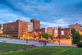 Youngstown, Ohio, USA downtown road and townscape at twilight. poster