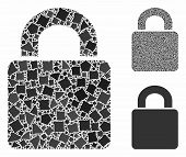 Lock Mosaic Of Irregular Elements In Different Sizes And Color Tints, Based On Lock Icon. Vector Une poster