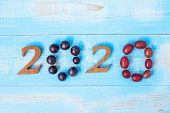 2020 Happy New Year And New You With Fruits, Black Grapes And Red Grapes On Blue Wood Background. Go poster