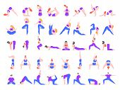 Yoga Asanas. Practice In Yoga Poses, Young People Train Balance, Meditate And Relax At Yoga Class Ve poster