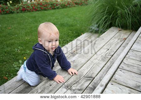 Baby Crawling Outside