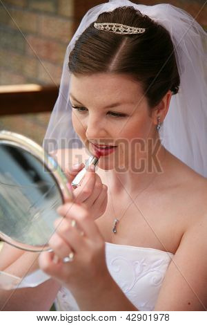 Bride Putting Lipstcik