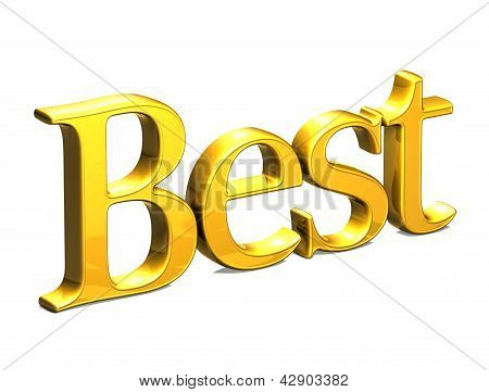 3D Gold Word Best On White Background