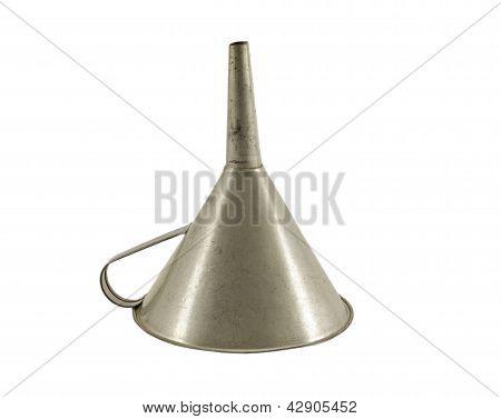 Vintage Metallic Funnel Hopper Tool Isolated White