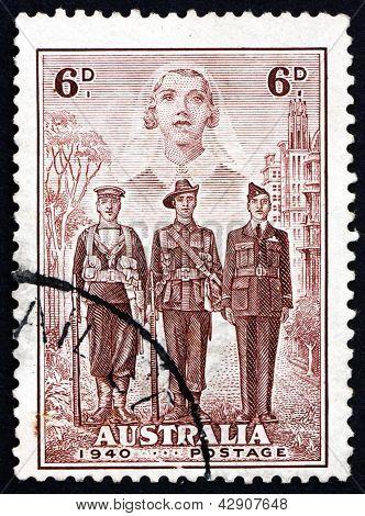 Postage Stamp Australia 1940 Nurse, Sailor, Soldier And Aviator