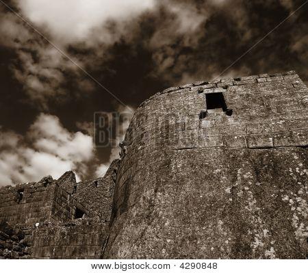 Machu Picchu Ruins Bw