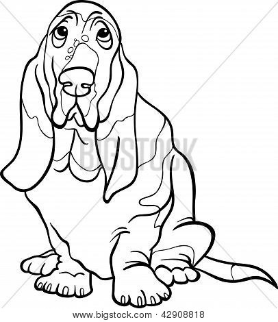 Basset Hound Dog Cartoon For Coloring Book