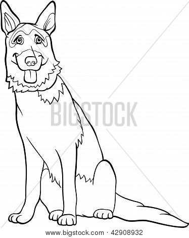 German Shepherd Dog Cartoon For Coloring