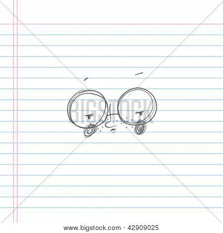 Hand-drawn vector illustration of a nerd