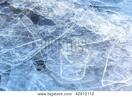 Natural Cracked Ice Texture On River In Spring