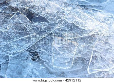 Gelo rachado natural textura no Rio em Primavera