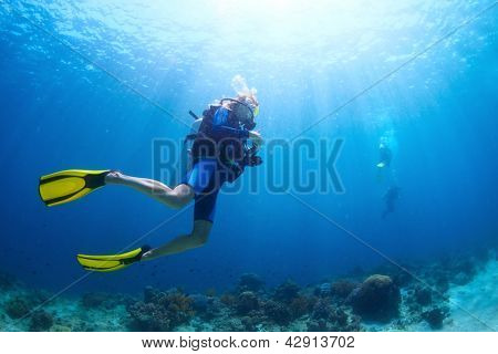 Underwater shoot of a divers swimming in a blue clear water