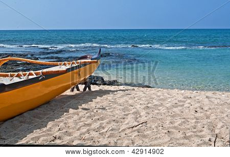 Yellow Boat On Sand Of Tropical Beach