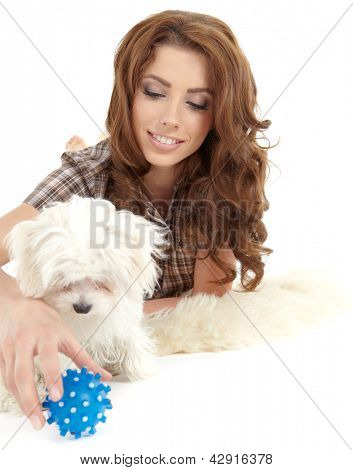 Playing with her dog