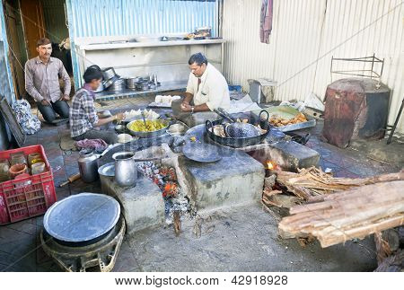 Greasy Roadside Kitchen India Cooking Samosas