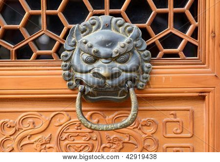 bronze doorknocker with Lion