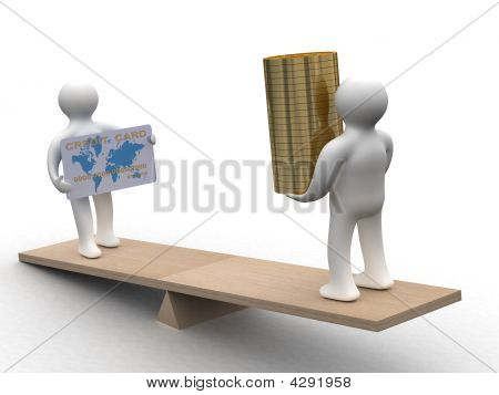People With Cash And A Credit Card On Weights. 3D Image