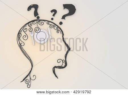 Isolated restaurant thinking symbol inside the head