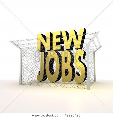 Isolated metallic locked new jobs 3d sign
