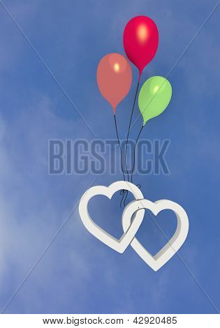 Flying Colorful balloon with  two hearts symbol
