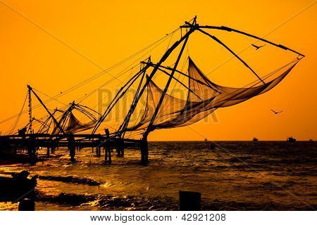 Chinese fishnets, Cochin South India.